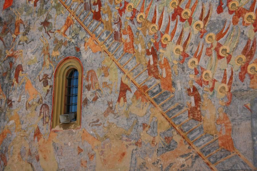 Cetele ingereşti, detaliu din Scara lui Ioan Climax pictură exterioară pe peretele de nord